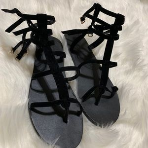 Black Strappy Sandals from Forever 21| Size: 7.5